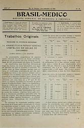 [Periódico] O Brazil-Medico : revista semanal de medicina e cirurgia, v. 55, P3, set-dez, 1941