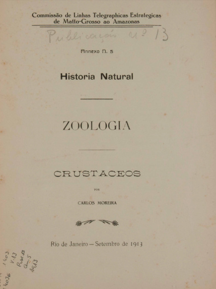 Historia Natural : Zoologia. Publ. 13 V. 13 An. 5 1913