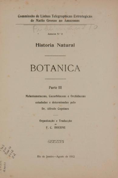 Historia Natural : Botanica.  Publ.10,  v.10,  1912