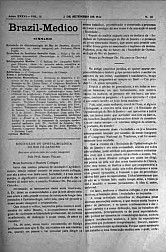 [Periódico] O Brazil-Medico : revista semanal de medicina e cirurgia, v. 36, P4, set-out, 1922