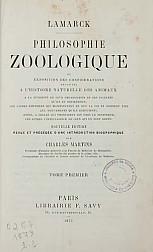 Philosophie Zoologique, ou, Exposition des considérations relatives à l'histoire naturelle des Anim. t.1,  1873