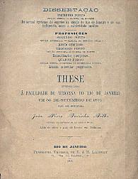 Do actual systema de esgotos da cidade do Rio de Janeiro e de sua influencia sobre a salubridade publica.1875