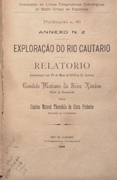 Exploração do Rio Cautário. Publ. 66 V. 66 1920