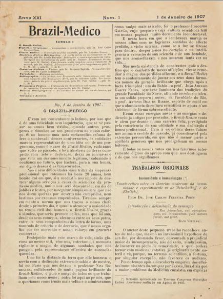 [Periódico] O Brazil-Medico : revista semanal de medicina e cirurgia, v. 21, P2, jul-dez, 1907