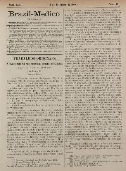 [Periódico] O Brazil-Medico : revista semanal de medicina e cirurgia, v. 23, P3, set-dez, 1909