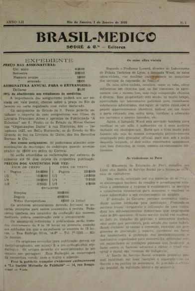 [Periódico] O Brazil-Medico : revista semanal de medicina e cirurgia, v. 52, P1, jan-mar, 1938