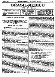[Periódico] O Brazil-Medico : revista semanal de medicina e cirurgia, v. 47, P1, jan-jun, 1933