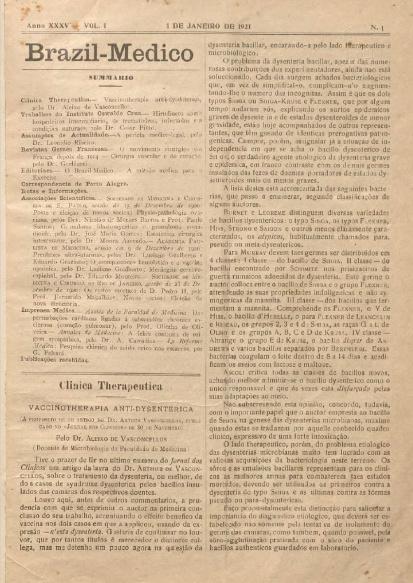 [Periódico] O Brazil-Medico : revista semanal de medicina e cirurgia, v. 35, P1, jan-abr, 1921