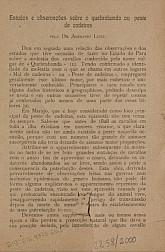 Estudos e observações sobre o quebrabunda ou peste de cadeiras. 19--
