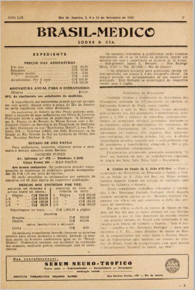 [Periódico] O Brazil-Medico : revista semanal de medicina e cirurgia, v. 59, P3, set-dez, 1945
