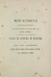 Anais da Academia de Medicina do Rio de Janeiro. Índice alfabético. 1831