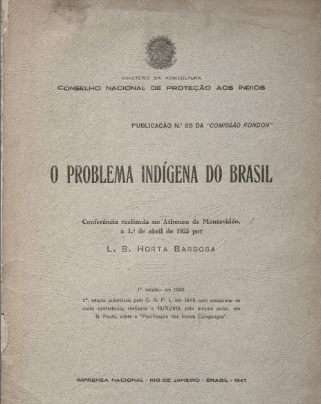O problema indígena do Brasil. Publ. 88, 1926