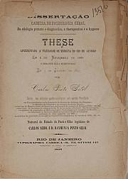 Da etiologia perante o diagnóstico, a therapêutica e a hygiene. 1897
