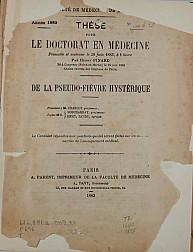 De la pseudo-fièvre hystérique .1883