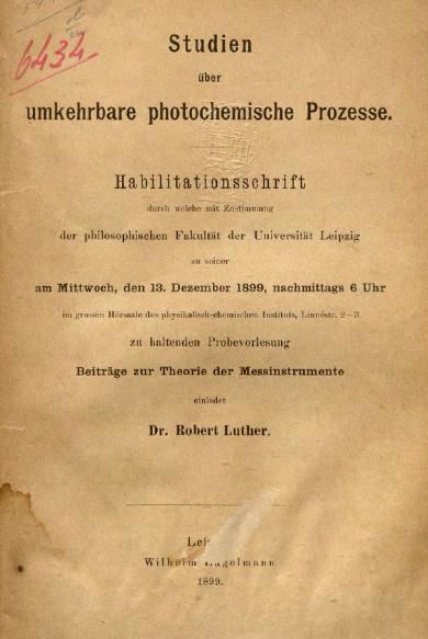 Studien über umkehrbare photochemische.1899 prozesse.