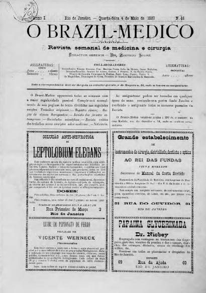 [Periódico] O Brazil-Medico : revista semanal de medicina e cirurgia, v. 1, P2, abr-jul, 1887