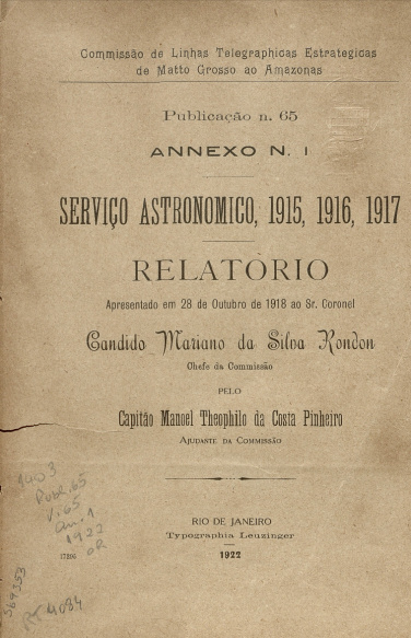 Serviço Astronomico, 1915, 1916, 1917 . Publ. 65 V. 65 1922