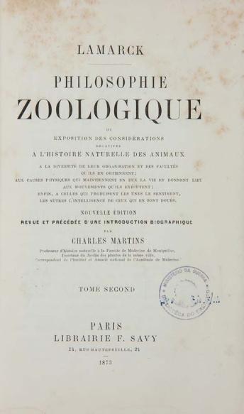 Philosophie Zoologique, ou, Exposition des considérations relatives à l'histoire naturelle des Anima