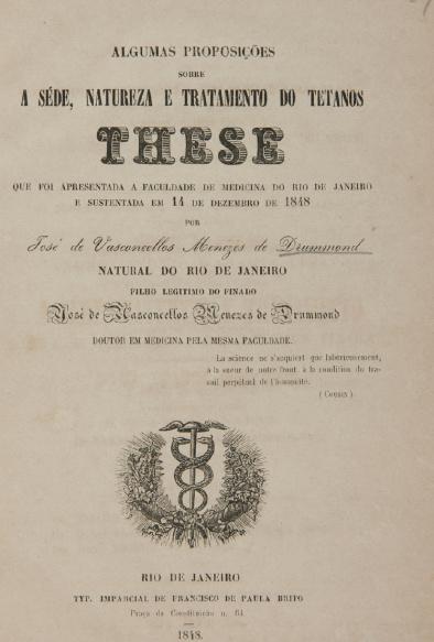 Algumas proposições sobre a séde, natureza e tratamento do tetanos. 1848