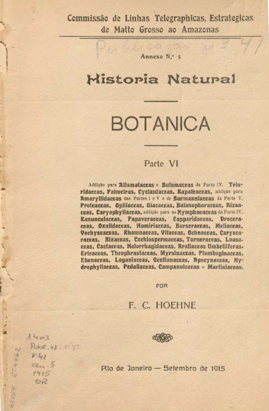Hstória Natural : Botanica. Publ. 41 Vol. 41 Parte VI 1915