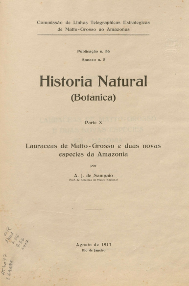 Historia Natural (Botanica) Parte X.  Publ. 56, v 56, 1916