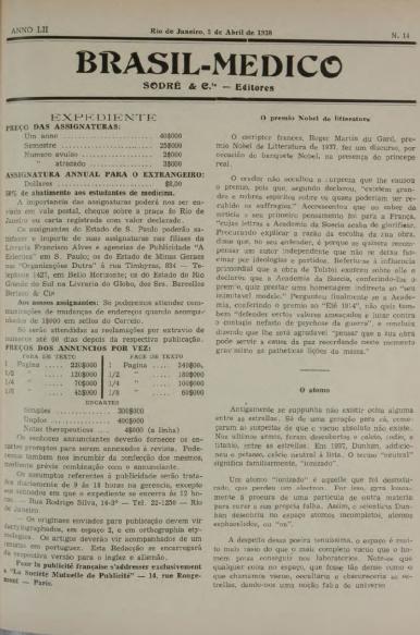 [Periódico] O Brazil-Medico : revista semanal de medicina e cirurgia, v. 52, P2, abr-jun, 1938