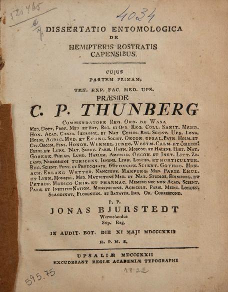 Dissertatio entomologica de hemipteris rostatis capensibus. 1822