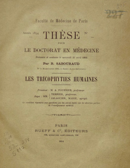 Les tricophyties humaines.1894