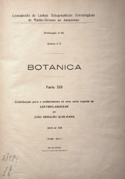 História Natural : Botanica. Publ. 83,  V.83 Parte XIII,  1923