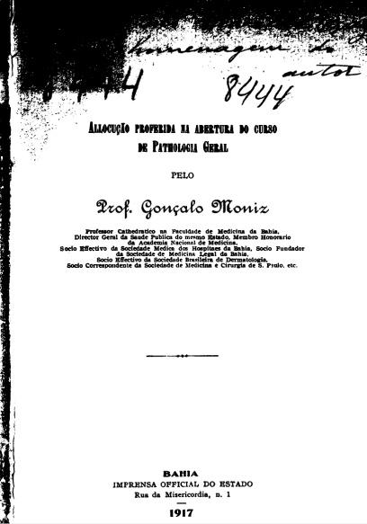 Allocução proferida na abertura do curso de pathologia geral.1917