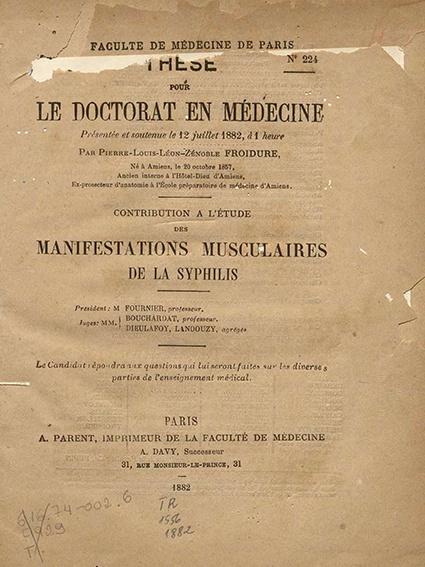 Contribution a l'étude des manifestations musculaires de la syphilis. 1882