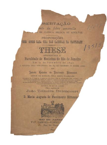 Tratamento da febre amarella .1890