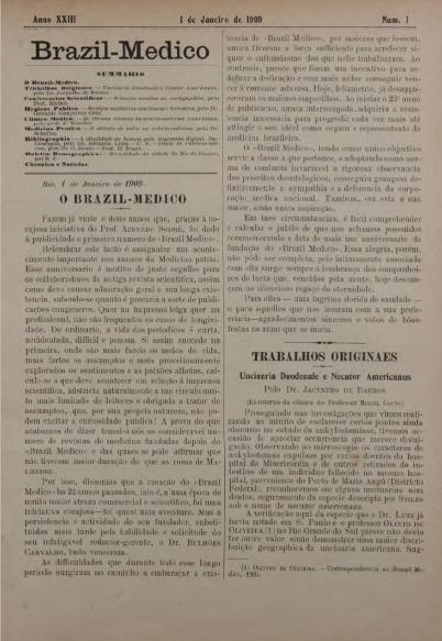 [Periódico] O Brazil-Medico : revista semanal de medicina e cirurgia, v. 23, P1, jan-abr, 1909